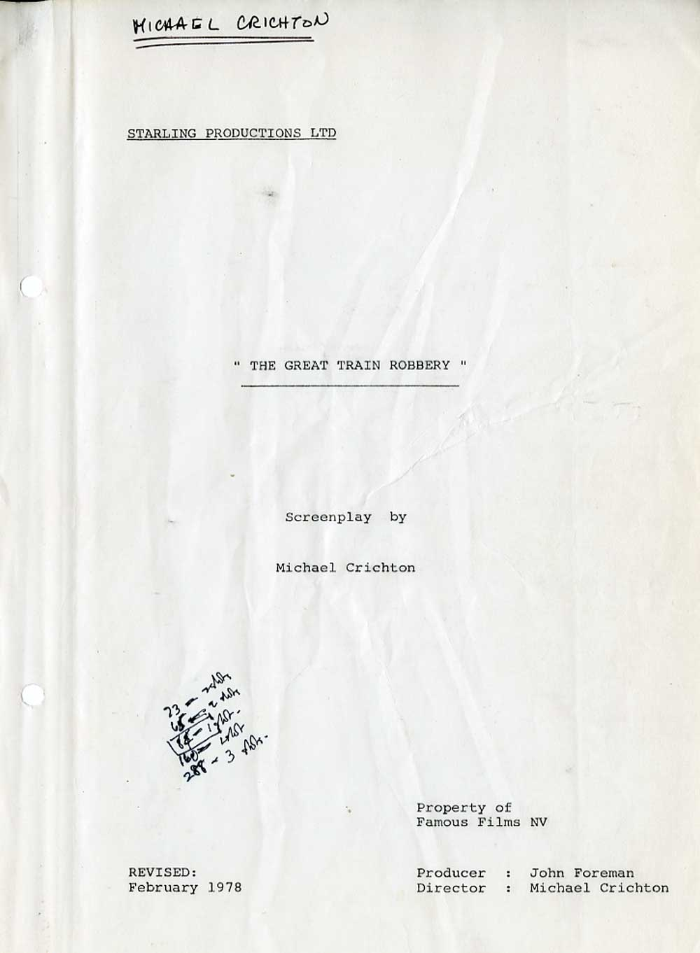 The Great Train Robbery Shooting Script Cover Page