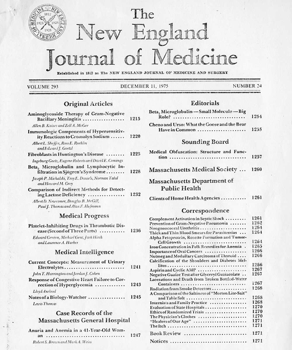 Michael Crichton essay in The New England Journal of Medicine