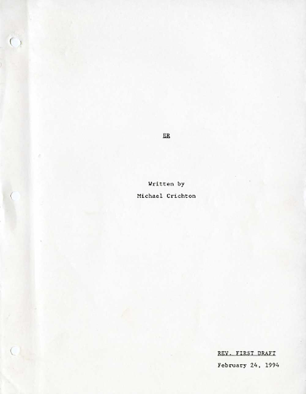 ER screenplay written by Michael Crichton